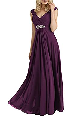 Always Pretty Women's V-Neck Empire Line Mother of The Bride Dresses