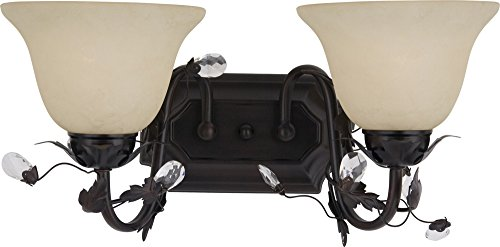 Maxim 2864FIOI Elegante 2-Light Bath Vanity Wall Sconce, Oil Rubbed Bronze Finish, Frosted Ivory Glass, MB Incandescent Incandescent Bulb , 60W Max., Damp Safety Rating, Standard Dimmable, Hemp String Shade Material, Rated Lumens