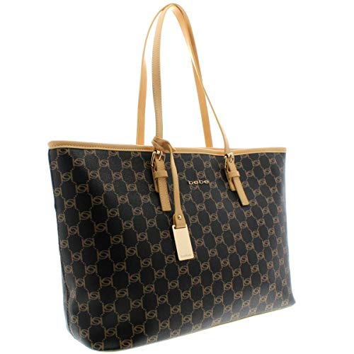 Bebe Womens Reese Faux Leather Printed Tote Handbag Brown Large by bebe