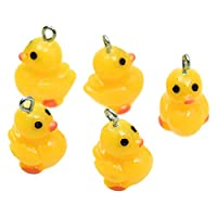 Monrocco 50 Pcs Resin Three-Dimensional Yellow Duck Pendant DIY Handicraft Accessories Key Material Decorative Accessories