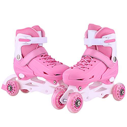 (ANCHEER Outdoor Inline Roller Skates Women Youth Roller Skate Boys Adjustable Inline Quad Skates Rollerblades Size 2 3)