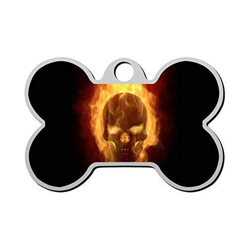 OSJHDFjd Skull Personalized Printed Dog Tags Bone Shape Pet Id Tag for Dog & Cat