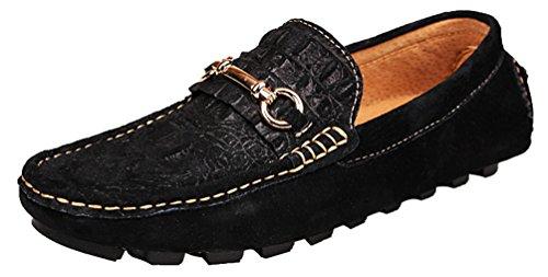 Abby 8005 Menns Komfortable Svarte Loafers Stilige Uformelle Eminente Slip-on Mokasiner Kjører Joggesko Sort