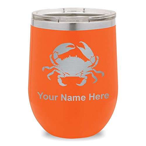 Wine Glass Tumbler, Crab, Personalized Engraving Included (Orange)