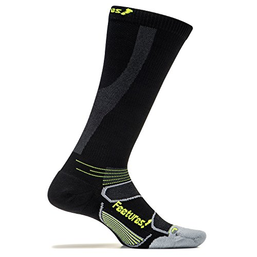 Elite Graduated Compression Light Cushion - Knee High - Athletic Running Socks for Men and Women - Black + Reflector - Size X-Large