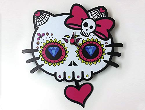 Day of the Dead Sugar Skull - Dead Kitty Skull Silhouette - Pendulum Wall Clock