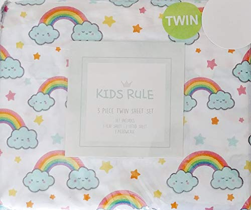(Kids Rule Smiling Kawaii Rainbows and Stars Twin Size Sheets Set (Flat, Fitted,)