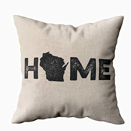 TOMKEY Hidden Zippered Pillowcase Wisconsin Home State Love 20X20Inch,Decorative Throw Custom Cotton Pillow Case Cushion Cover for Home Sofas,bedrooms,Offices,and More