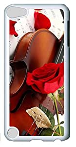 Fashion Customized Case for iPod Touch 5 Generation White Plastic Case Back Cover for iPod Touch 5th with Violin and Red Roses