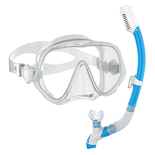 Ranipobo Premium Set de plongée Adulte et Jeunesse, Masque à Sec Anti-Leak Anti-buée Anti-Fuite, Tuba en Verre trempé pour Une Vue panoramique 180° How Dry Breathing Tubes Work