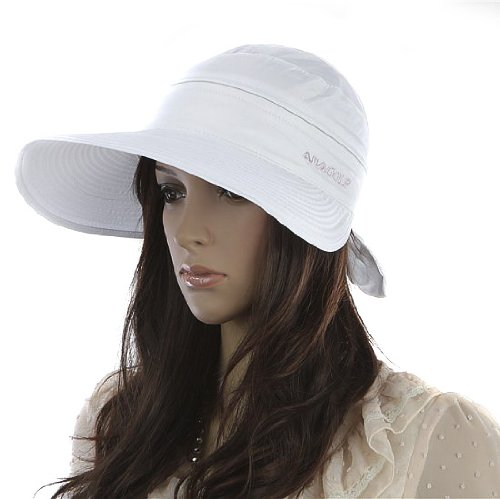 Nsstar Handmade Chic Fashion Ladies Woman Bohemia Bowknot Summer Dual Purpose Two USES Polyester Hat Braid Sun Visor Floppy Fold Summer Swimming Beach Hat (White)