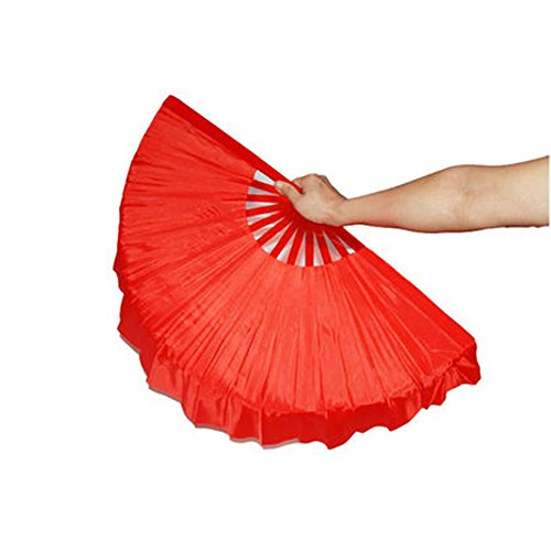 (ZooBoo 1pair 12 Bones Plastic Dance Hand Held Fan Taichi Kungfu Fan Dancing Fans Martial Arts Sports Folding Hand Fan 4 Colors (Red))