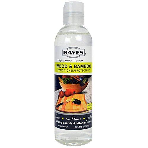 Bayes High-Performance Food Grade Mineral Oil Wood & Bamboo Conditioner and Protectant - Cleans, Conditions and Protects Wood, Bamboo, and Teak Cutting Boards and Utensils - 8 oz