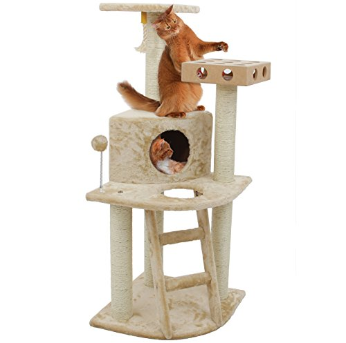 Beige Cat Furniture Tower (Furhaven Tiger Tough Cat Tree House Furniture for Cats and Kittens, Clubhouse with IQ Busy Box, Beige)