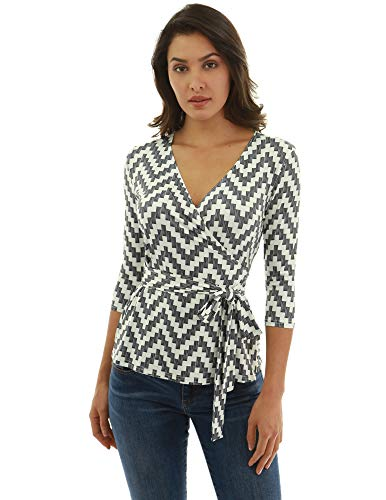 PattyBoutik Women 3/4 Sleeve Wrap Blouse (Ivory and Black 27 Large)