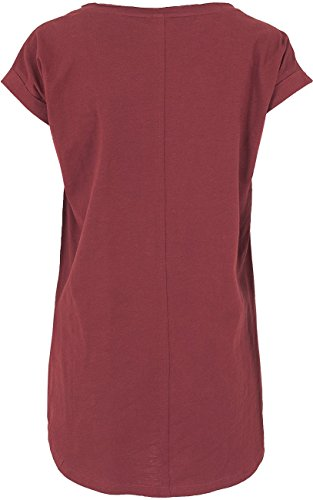 RED by EMP Long Back Shaped Slub Tee Maglia Donna Borgogna XL