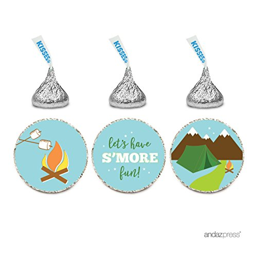 Andaz Press Birthday Chocolate Drop Labels Trio, Fits Hershey's Kisses Party Favors, Camping Tent, Mountains, Let's Have S'More Fun!, 216-Pack