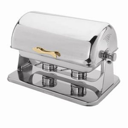 CONTEMPO CHAFER -SERVES UP TO 8 QUARTS - CURVED TOP SWINGS OPEN - BRASS ACCENTED STAINLESS STEEL CHAFER