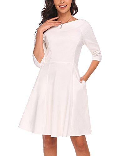 A Delle bianco Del Ginocchio Tasca Elegante 3 Manica La 1 Pieghettato 4 Dall'oscillazione Acevog Vestito Donne Lunghezza line wSz7q0