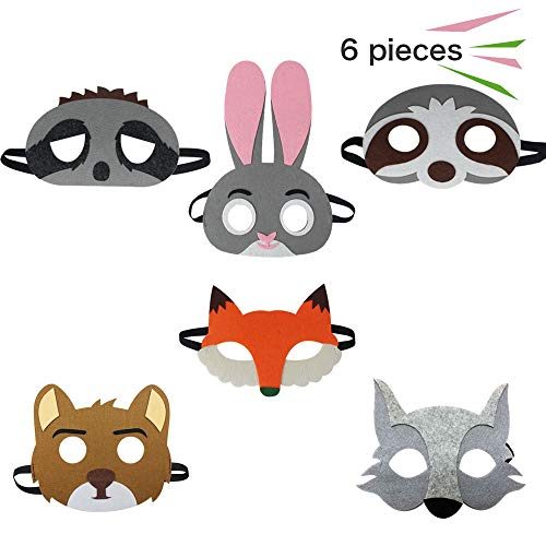 6 Assorted Cartoon Felt Animal Masks for Kids Party Favors Dress-Up Cosplay -