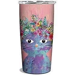 Studio Oh! 17 oz. Vaso de acero inoxidable aislado para mudanza, disponible en 4 diseños diferentes, diseño de gato de flores, Mia Charro Fancy Flower Cat, 1