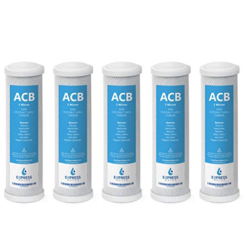 (Express Water - 5 Pack Activated Carbon Block ACB Water Filter Replacement - 5 Micron, 10 inch Filter - Under Sink and Reverse Osmosis System)