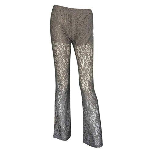 Tempo Donna Pantalone Libero Monocromo Chic Larghi Eleganti Waist Ragazza Grau Hollow Colpo Moda Abbigliamento Estivi Pantaloni High Pizzo 6tpIz6wqrx