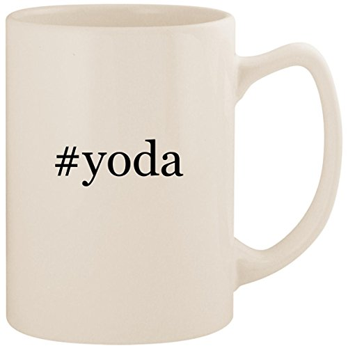 #yoda - White Hashtag 14oz Ceramic Statesman Coffee Mug Cup (Yoda Vs Darth Sidious Lightsaber)