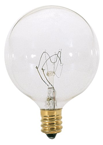 Satco S3831 120V 60 Watt G16.5 Candelabra Base Light Bulb, Clear