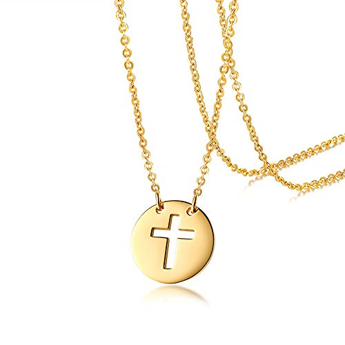Molike Small Cross Necklace 14K Gold Hollow Coin Pendant Necklace Dainty Christian Jewelry Gift for Women (Gold) - Classic Plain Small Cross Pendant