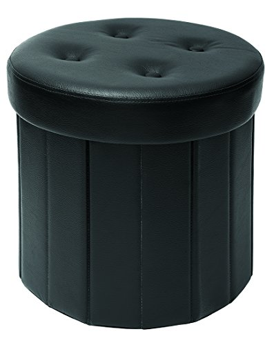 (Fresh Home Elements 250052-002 Round Storage Ottoman, 15 by 15 by 15-Inch, Black Faux Leather)