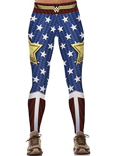 Main Street 24/7 Wonder Woman Stars & Stripes Logo One Size Fits Most Women's Leggings ()