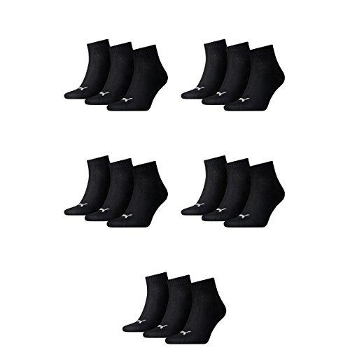 15 pair Puma Sneaker Quarter Socks Unisex Mens & Ladies 200 - black