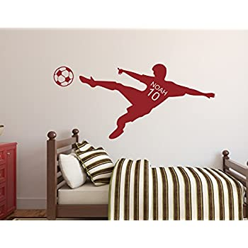 Personalized Name Soccer Wall Decal  Nursery Wall Decals   Soccer Player Wall  Decal Vinyl (