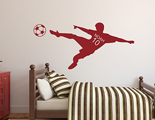 Personalized Name Soccer Wall Decal- Nursery Wall Decals - Soccer Player Wall Decal Vinyl (32Wx15H) by Lovely Decals World LLC