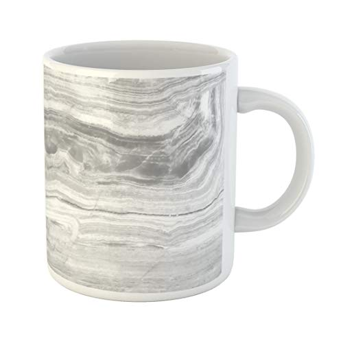 Semtomn Funny Coffee Mug White Onyx Marble Natural Stone Pattern Abstract for Interior 11 Oz Ceramic Coffee Mugs Tea Cup Best Gift Or Souvenir