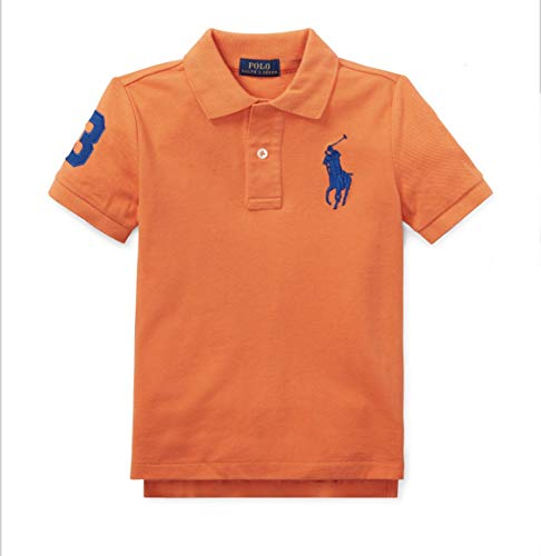 Polo Ralph Lauren Boys Big Pony & Number on Sleeves 100% Cotton(2-20years) (Orange, 5 Years)