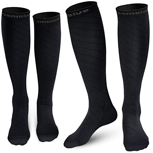 (CAMBIVO 2 Pairs Compression Socks for Women & Men, 20 30 mmHg (XXL (Women 12.5-16 / Men 11-15), Sports/Black))