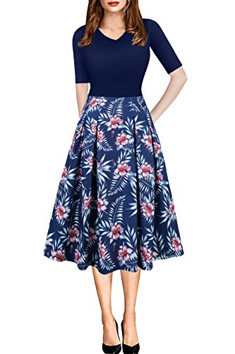 Vintage Dresses for Women Casual Office Work Summer Floral Kurti Printed Anarkali Kurta Navy Blue XL