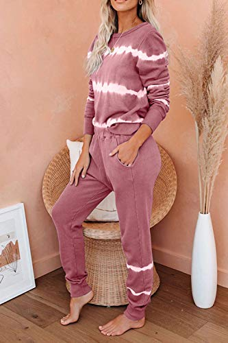 Women 2 Piece Tie Dye Sweatsuit Set Long Sleeve Pullover and Drawstring Sweatpants Sets