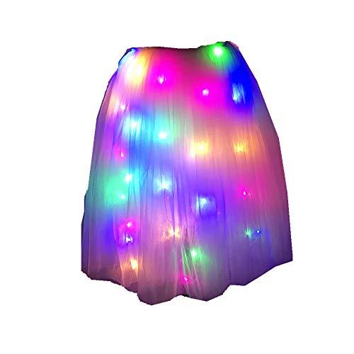 Geek3c SHINYOU Girls Tutu Skirts, LED Skirt Ballet Skirt Net Yarn for Party Chirstmas Gift (Multi Adult)
