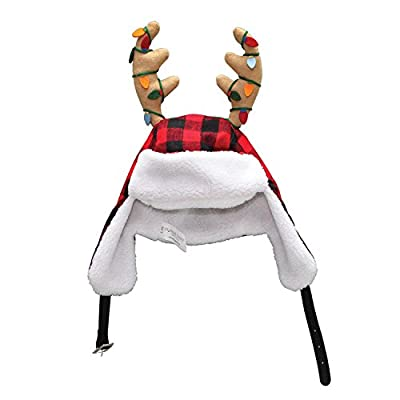 "Dyno 16"" Adjustable Red and Black Plaid Christmas Hat with Sherpa Ear Flaps and Antlers"