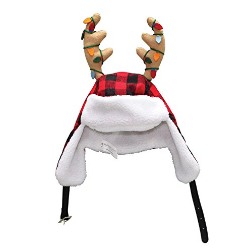 "Dyno 16"" Adjustable Red and Black Plaid Christmas Hat with Sherpa Ear Flaps and Antlers ()"