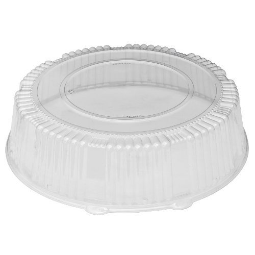 CaterLine Plastic Round Catering Tray Dome Lid, 18-Inch, Clear (25-Count)