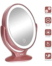 Aesfee Schminkspiegel Beleuchtet mit 21 LED-Lichtern, 1x / 7X Vergrößerung Doppelseitige 360° Drehbar Kosmetikspiegel mit Dimmbarer Touchscreen,USB Aufladbar Tischspiegel - Roségold