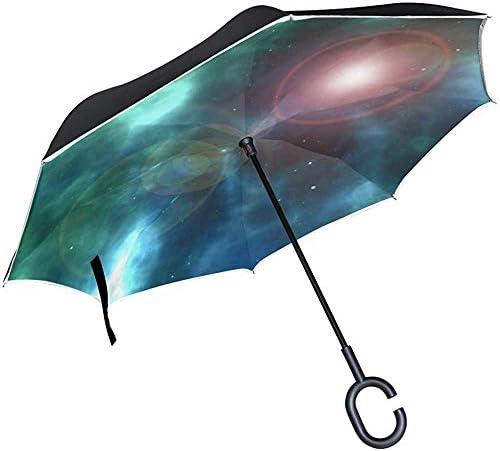 Alice Eva Inverted Umbrella Universe Galaxy Weltraum Astronomie Kosmos Wissenschaft Regenschirme Reverse Taschenschirm Big Straight Umbrella