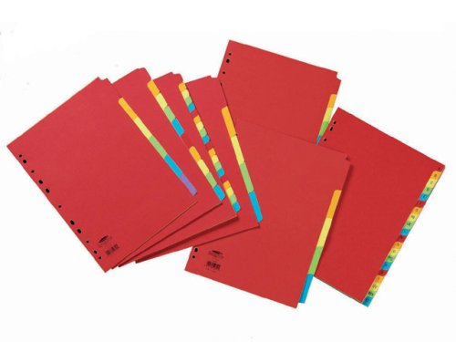 Concord Bright Subject Dividers Europunched 5-Part A4 Assorted Ref 50699 Concord Filing Products Ltd