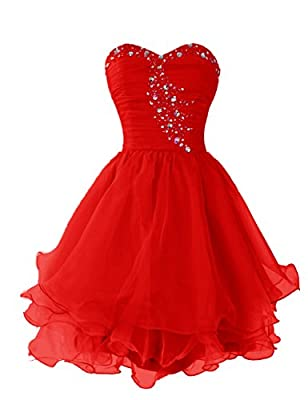 Dressystar Short Beaded Sweetheart Homecoming Party Princess Dress Lace-up Back