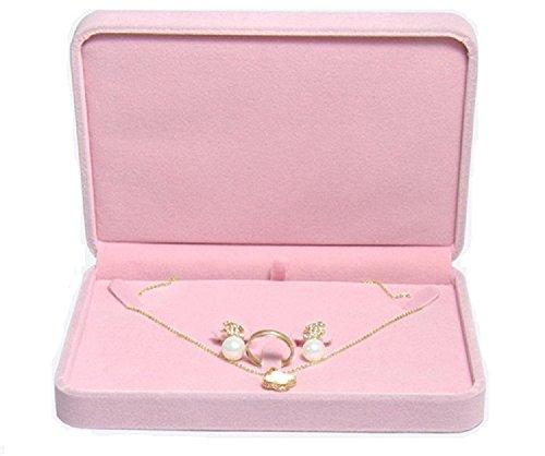 (TIKIYOGI Wedding Jewelry Sets Velvet Box Necklace Earring Ring Display Case Storage Holder (Pink))