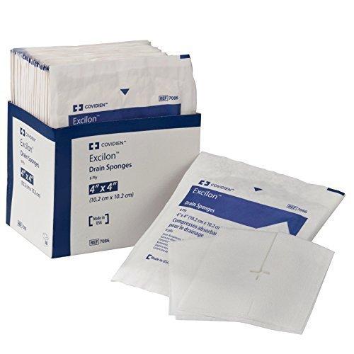 Covidien 7086 Excilon Drain Sponge, Sterile 2's in Peel-Back Package, 4'' x 4'', 6-ply (Pack of 50) - 1 box